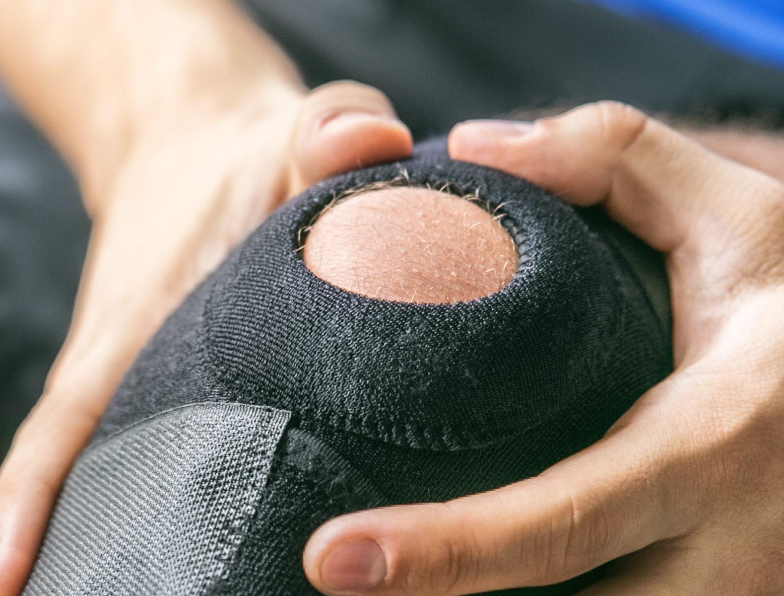 Sports injuries, bandaged knee